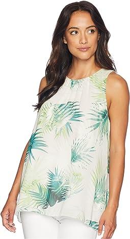 Sleeveless Sunlit Palm Blouse