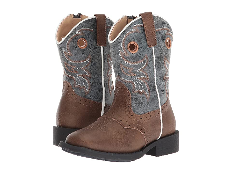 Roper Kids Daniel (Toddler) (Brown Faux Leather Vamp/Blue Shaft) Cowboy Boots