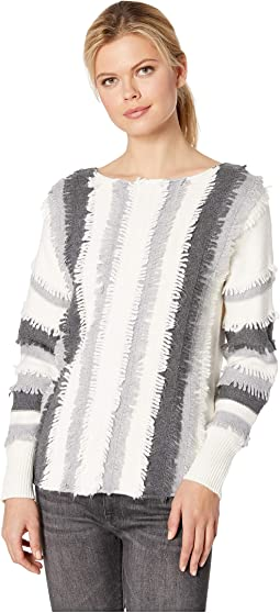 Long Sleeve Color Block Loop Stitch Stripe Boat Neck Sweater
