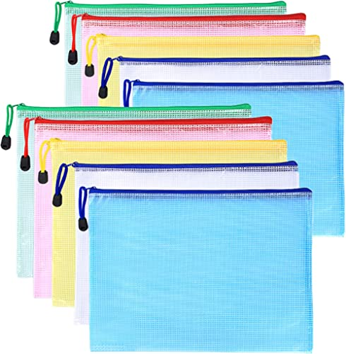 10 Pcs Zip File Folders, Pyhot 10pcs A4 Size Mesh Document File Bags Storage Pouch with Zipper for Cosmetics Offices ...