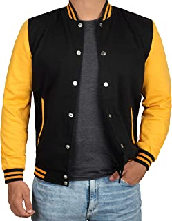 Black and Yellow Letterman Jacket Men - High School Baseball Varsity Jacket Mens