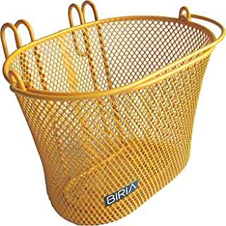 BIRIA Basket with Hooks Yellow/Orange, Front, Removable, Wire mesh Small Kids Bicycle Basket, Yellow/Orange