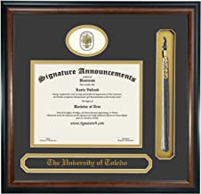 Signature Announcements University of Toledo (UT) Graduate and Doctorate Graduation Diploma Frame with Sculpted Foil Seal, Name & Tassel (Matte Mahogany, 20 x 20)