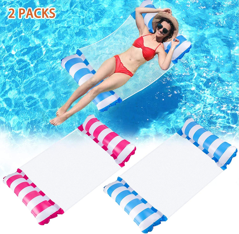 Colchoneta Piscina para Adultos 2 PCs, 4 en 1 Hamaca de Agua Inflable Flotante Azul y Rojo