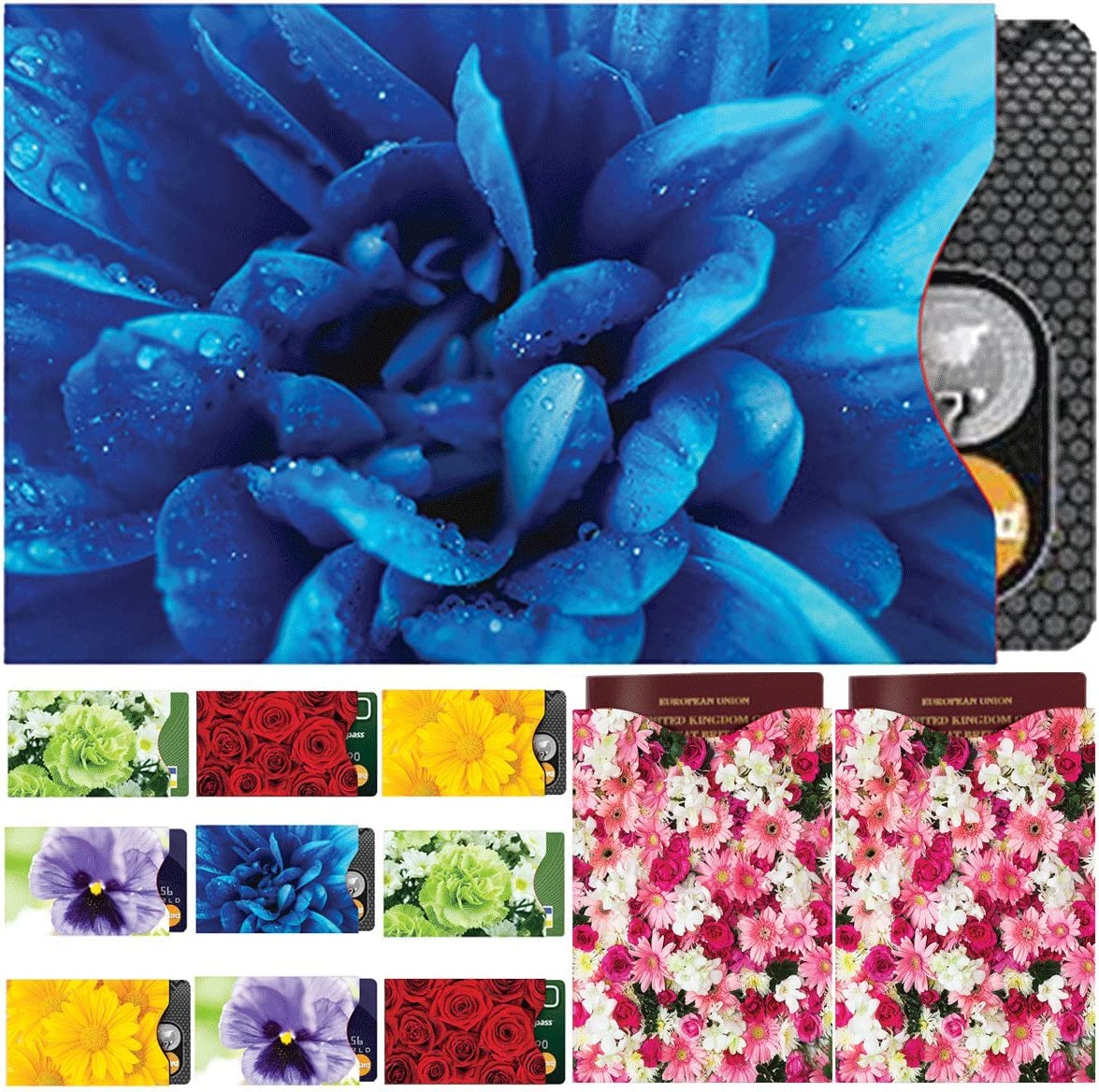 MATANA - 2 Floral Limited time cheap sale Passport Outstanding Covers for Blocking 10 Sleeves RFID