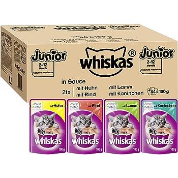 Whiskas Katzenfutter Junior in Sauce – Ausgewogenes Feuchtfutter für heranwachsende Katzen – Beutel à 100g, verschiedene Sorten