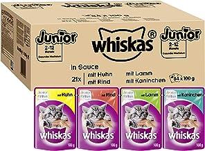Whiskas Katzenfutter Junior in Sauce – Ausgewogenes Feuchtfutter für heranwachsende Katzen – Beutel à 100g, verschiedene S...