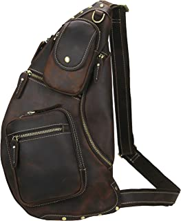 Lannsyne Genuine Leather Sling Chest Bag Crossbody Single Strap Daypack Backpack for Men