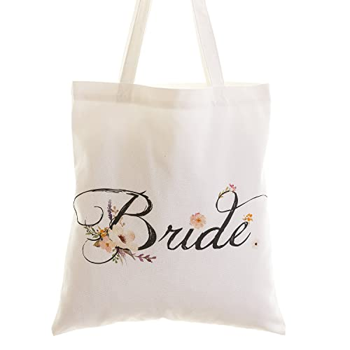 Ling s moment Wedding Bride Floral Cotton Canvas Tote Bag with Interior  Pocket for Bride to Be a66a7efac0