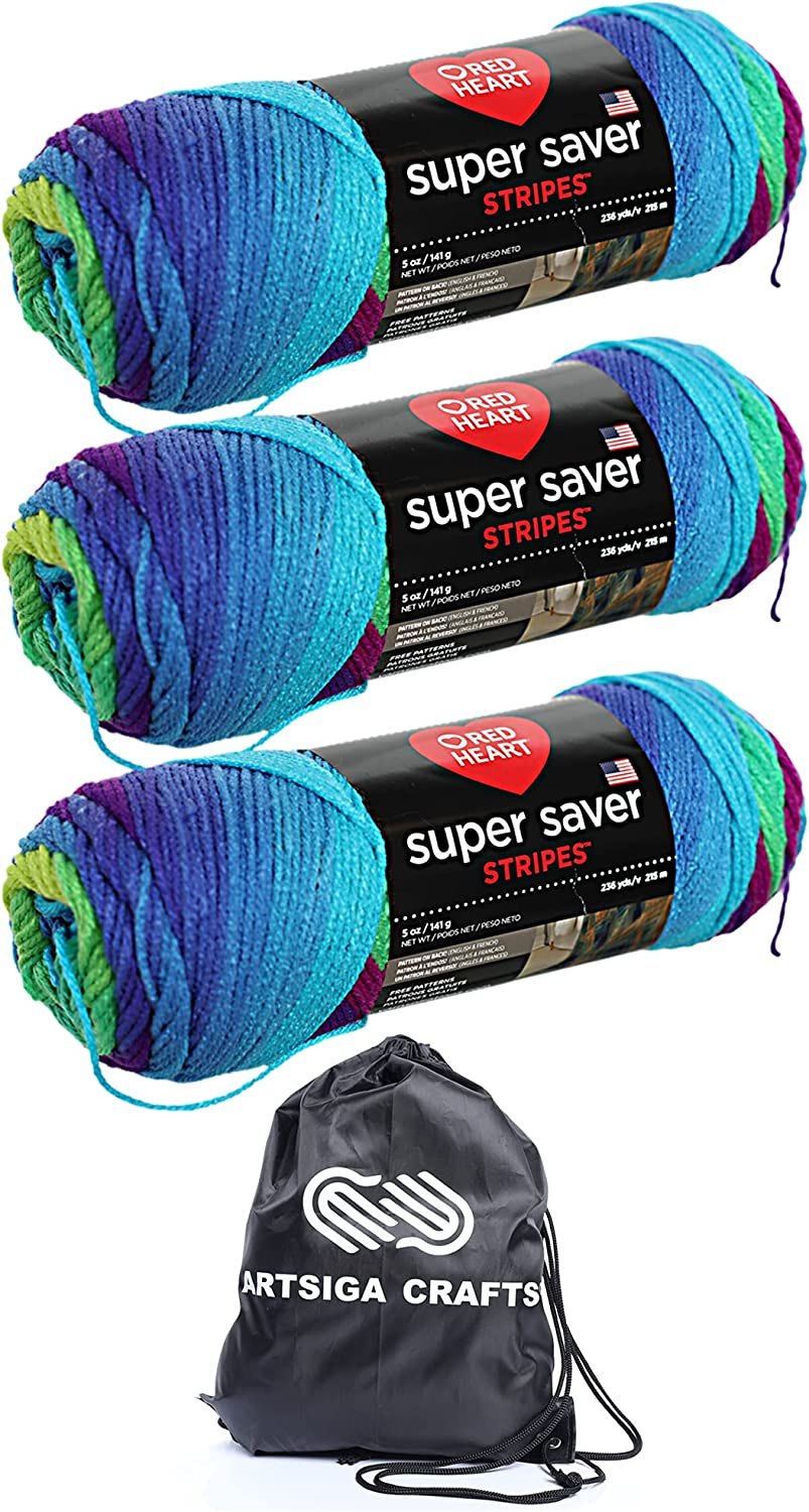 Red Heart Knitting Yarn Super Selling and selling Saver 3-Skein Branded goods Stripe Parrot