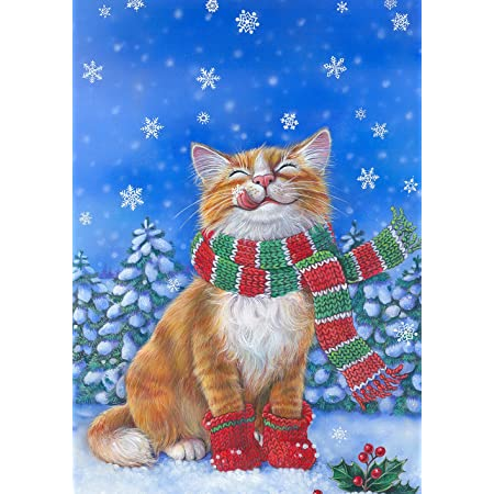 NEW White Double Sided Cat Garden Flag Yard Decor MEOWY CHRISTMAS Adorable Gift