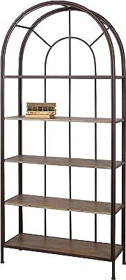 Creative Co-Op Metal Framed 5 Wood Shelves Bookshelf, Rust