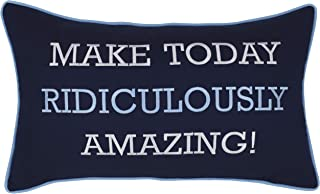 ADecor Embroidered Make Today Amazingly Ridiculous Navy Decorative Motivational Quote Pillow Cover (12X20, Amazing(Navy))