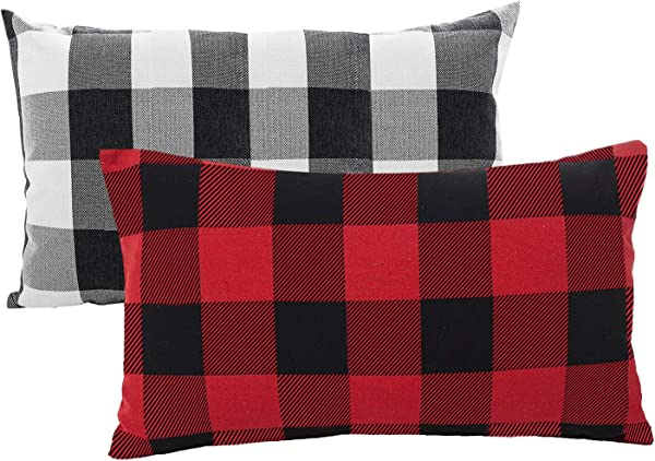 OYYR Set Of 2 Short Plush Small Throw Pillow Covers Comfortable Camping Pillow Case 12 X 20