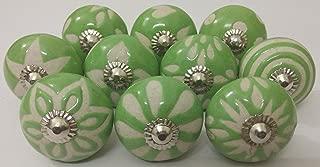 10 Vintage Ceramic Knobs Zoya's Hand Carved Ceramic Knobs Handmade Ceramic Door Knobs Kitchen Cabinet Knobs Drawer Pulls Kid's Badroom Knobs by Zoya's (Green)