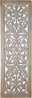 Benjara Attractive Mango Wood Wall Panel Hand Crafted with Intricate Details, White