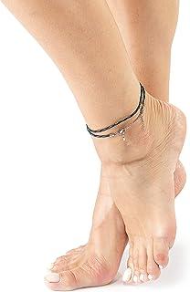 Wind Passion Fußkettchen Damen, Wasserdicht Einstellbar Seil Knöchel Armband Fußschmuck für Frauen, Mädchen