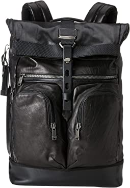 Alpha Bravo London Leather Roll-Top Backpack