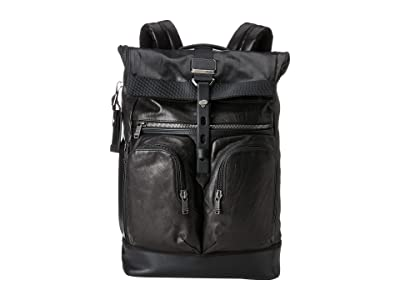 Tumi Alpha Bravo London Roll-Top Backpack (Black Leather) Backpack Bags