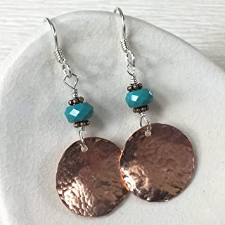 JANECKA Copper Disk and Turquoise Earrings, 1.75 Inch Length, Hand Forged, 7th Anniversary Gift