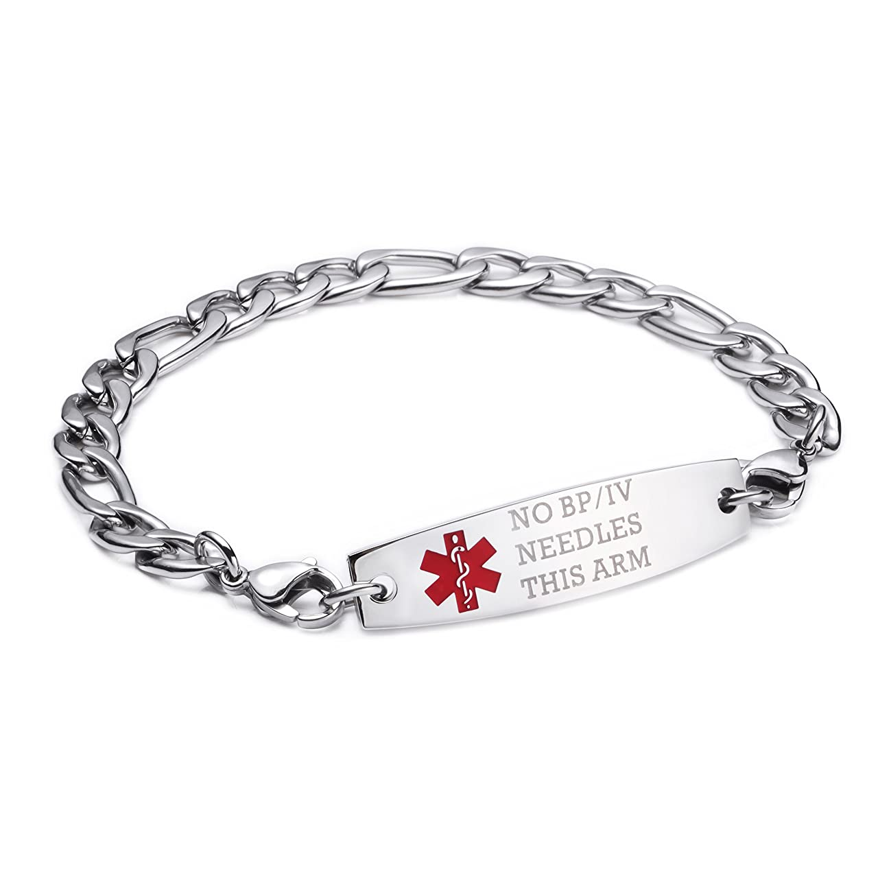 linnalove-Stainless Steel Figaro Chain Interchangeable Medical Alert Bracelets