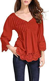 Women's Flare Sleeve Lace Splice Loose Casual Blouse T-Shirt Tops