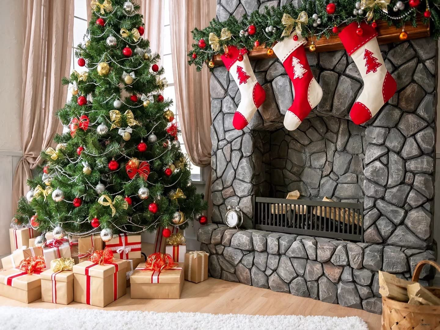 Pon The Christmas Tree and Three Little Socks Fireplace Photo Backgrounds no Wrinkle Photography Backdrops 7x5 ft 2.2x1.5m