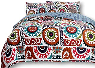 DaDa Bedding Bohemian Bedspread Set - Wildfire Gardens Floral Geometric Coverlet - Bright Vibrant Multi Colorful Rainbow - Full - 3-Pieces