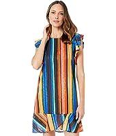 Rainbow Knit Stripe Dress with Flutter Sleeve and Ruffle Flounce