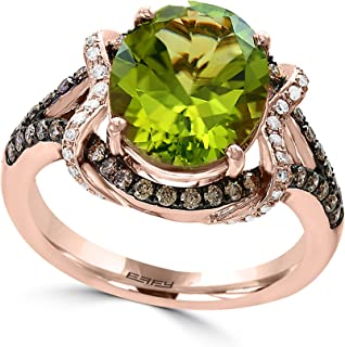 14K ROSE GOLD DIAMOND,BROWN DIAMOND,PERIDOT RING