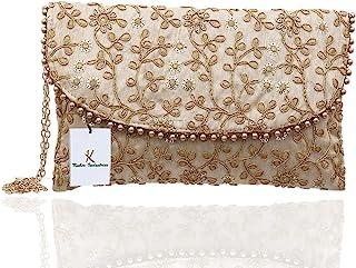 Kuber Industries Women's Handcrafted Embroidered Clutch Purse (CTKTC034514, Cream)