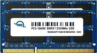 OWC 4. 0GB (2X 2GB) 1333MHz 204-Pin DDR3 SO-DIMM PC3-10600 CL9 مجموعة تحديث الذاكرة، (OWC1333DDR3S04S)