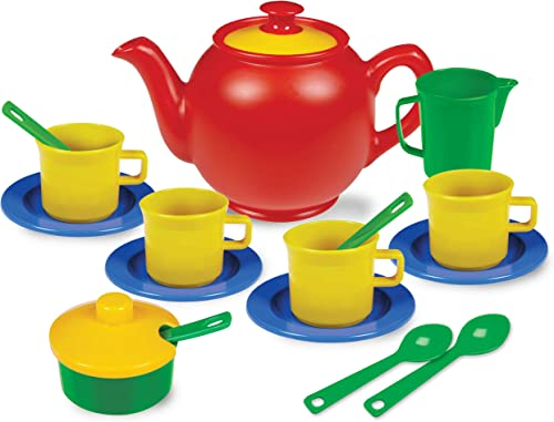 Kidzlane Play Tea Set 15+ Durable Plastic Pieces Safe and BPA Free for Childrens Tea Party and Fun