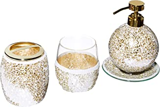 Mosaic Bathroom Accessories Set, 4 Piece Bath Accessory Sets with Gold Soap Dispenser, Toothbrush Holder, Tumbler and Ring...