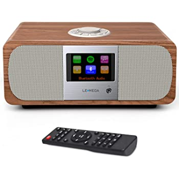 LEMEGA M3+ Stereo Smart Internet Radio,FM Radio,WiFi,Spotify Connect,Bluetooth,Stereo 20W Sound,Wooden Box,Headphones-Output,AUX-in,USB MP3,20 Stations Presets,Alarms&Clock,IR Remote/app– Walnut
