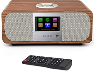 LEMEGA M3+ 20W Stereo Internet/FM Digital Radio with Bluetooth, Spotify Connect,WiFi, Headphones-Output,AUX-Input, USB MP3, 20 Stations Presets, Clock, Alarms, IR Remote and Wireless app – Walnut