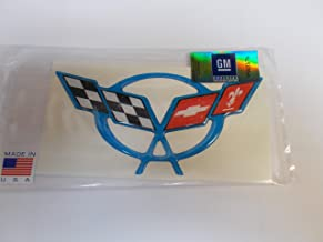 Vette Works Intl Corvette C5 Steering Wheel Emblem Size Domed Decal Nassau Blue