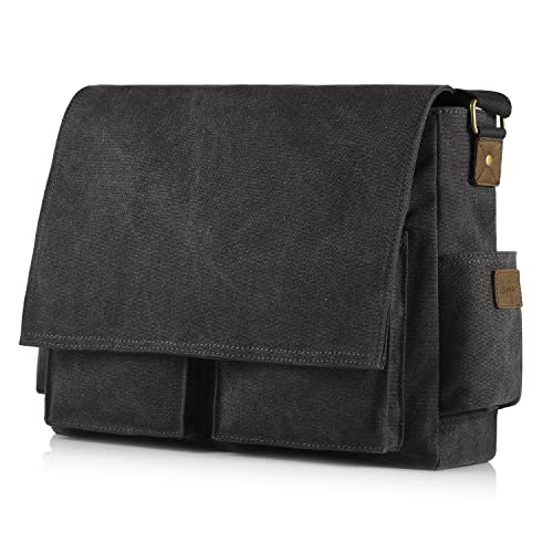 f2620b11b SMRITI 16-Inch Canvas Messenger Bag Laptop Crossbody Shoulder Bag for Men  Black