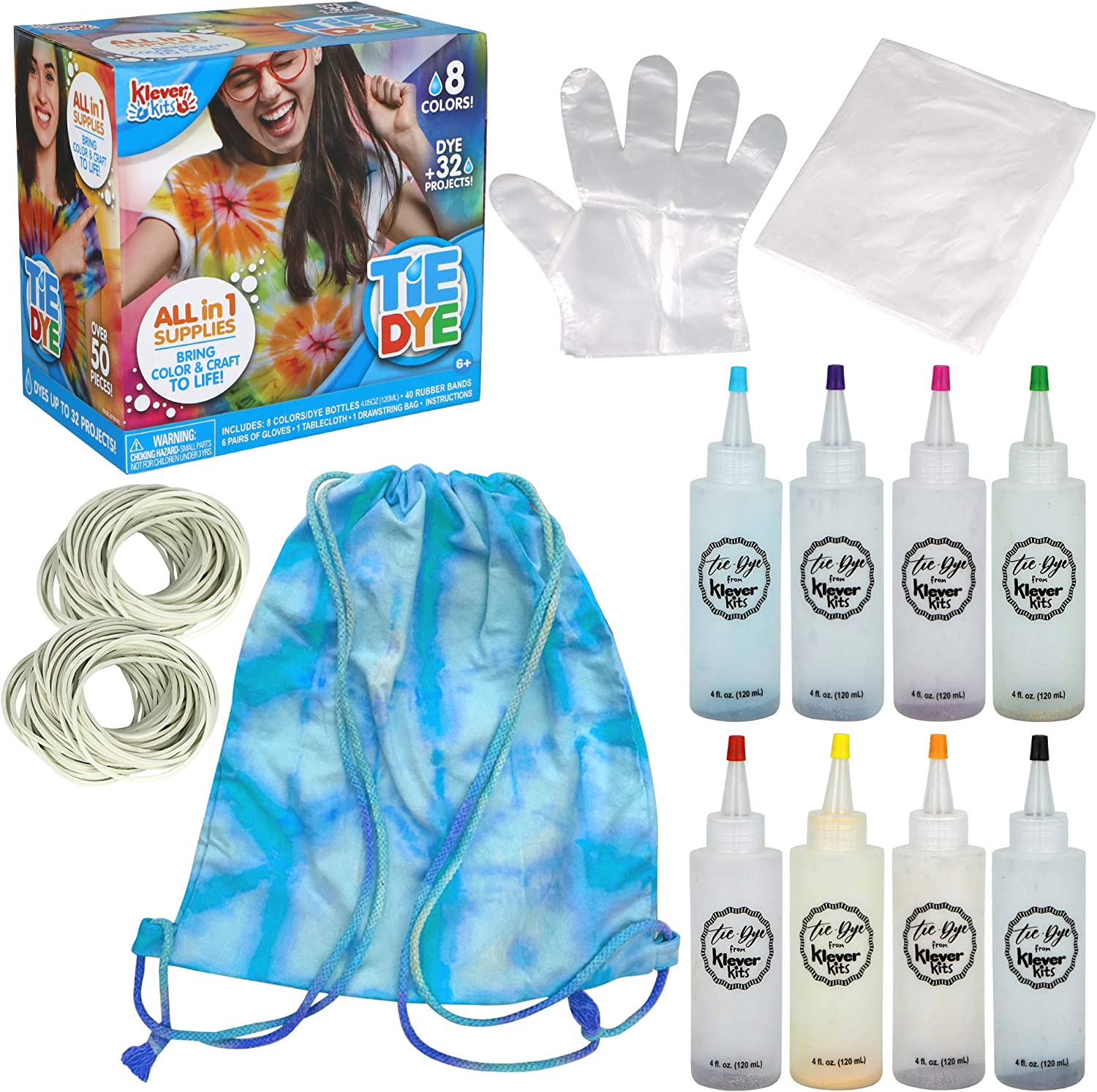 Klever Kits DIY New Super beauty product restock quality top! popularity Tie Dye with Drawstring 8 Rainbow Colo Bag