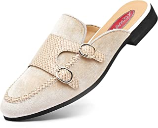 Sponsored Ad - XQWFH Men's Slip-on Mule Sandals Loafer with Gold Buckle,Fashion Leather Formal Wear Casual Backless Dress ...
