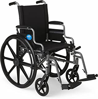 "Medline Lightweight and User-Friendly Wheelchair with Flip-Back Desk Arms and Swing-Away Leg Rests for Easy Transfers, Gray, 20"" x 18"