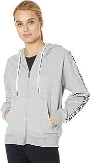 Calvin Klein Women's Vintage Logo Tape Full Zip Hoodie, Pearl Grey Heather, XS
