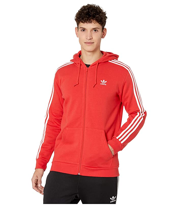 adidas Originals  3-Stripes Full Zip Hoodie (Lush Red) Mens Sweatshirt