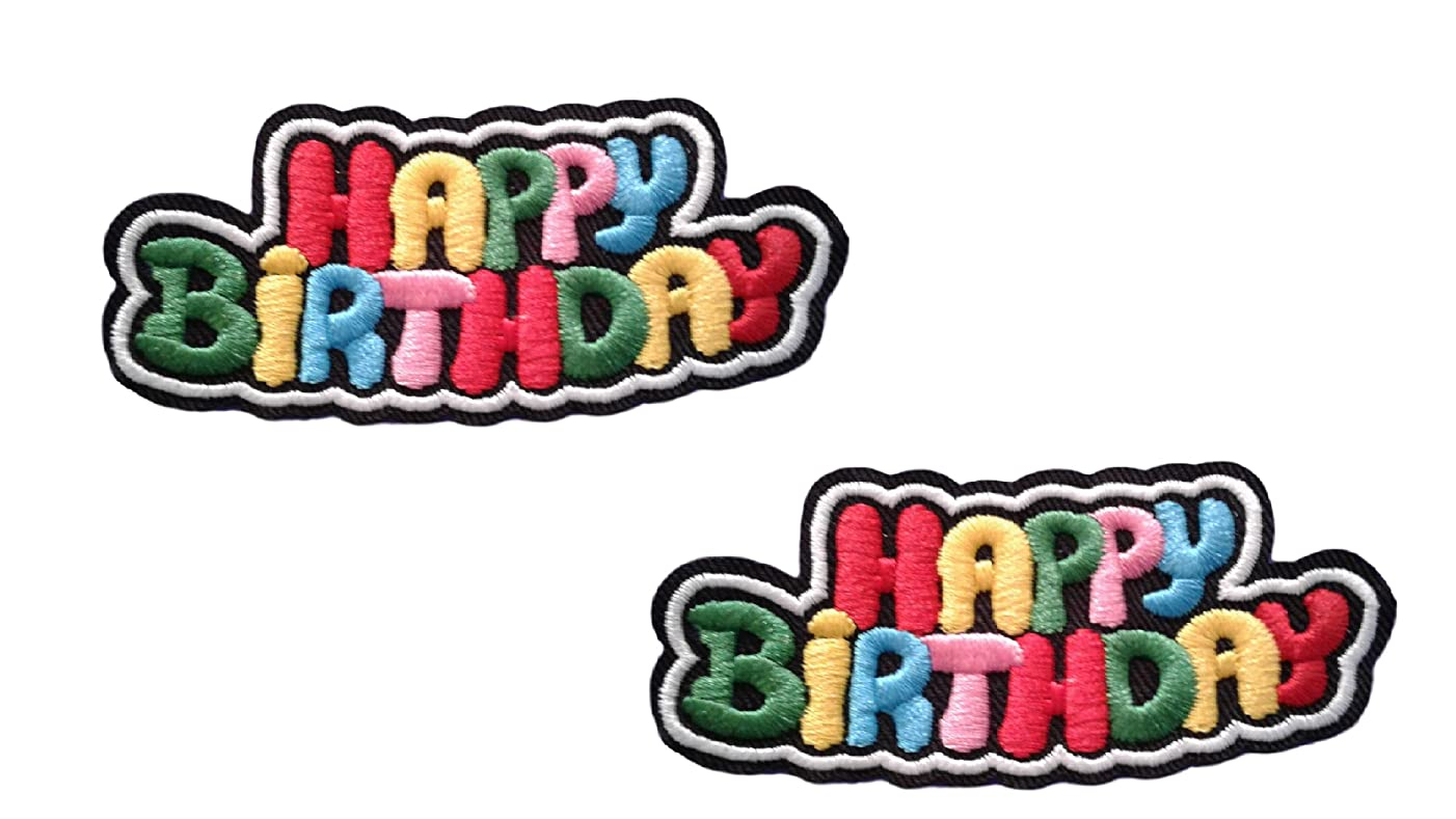 2 pieces HAPPY BIRTHDAY Iron On Patch Applique Baby Kids Motif Children Scrapbooking Decal 3.1 x 1.4 inches (7.8 x 3.5 cm)
