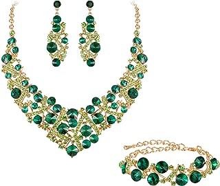 Flyonce Women's Austrian Crystal Wedding Luxury Floral Filigree Necklace Earrings Set Silver-Tone