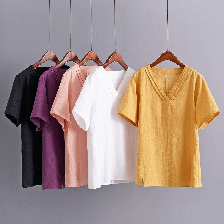 Minibee Women's Linen V-Neck Blouse Tunic Summer Short Sleeve Shirt Tops