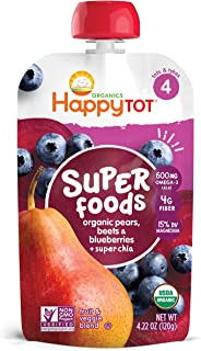 Happy Family Organics Tot Super Foods Pouch Stage 4 - Pears Blueberries & Beets + Super Chia, 120 gm