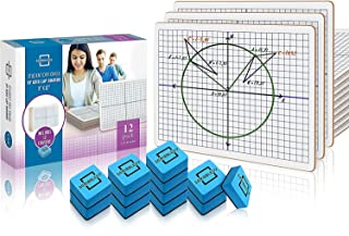"""Dry Erase XY Axis Graph Lap Boards 9""""X12"""" for Student and Classroom Use, Math whiteboards (Double Sided White Boards) Eras..."""