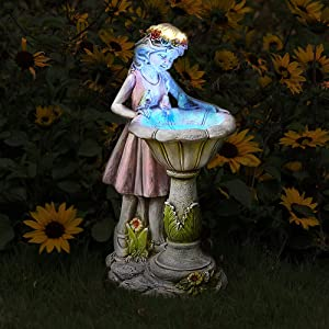 Voveexy Fairy Garden Statue, Solar Garden Angel Figurine Outdoor Decoration Waterproof Resin Garden Sculpture for Patio Yard Lawn Porch Art Decoration Ornament Housewarming Christmas Birthday Gift