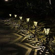 مجموعة من 6 مصابيح حديقة تعمل بالطاقة الشمسية لتزيين الممرات، فوانيس ممر، إضاءة ليد تعمل بالطاقة الشمسية، مصابيح شمسية مقا...